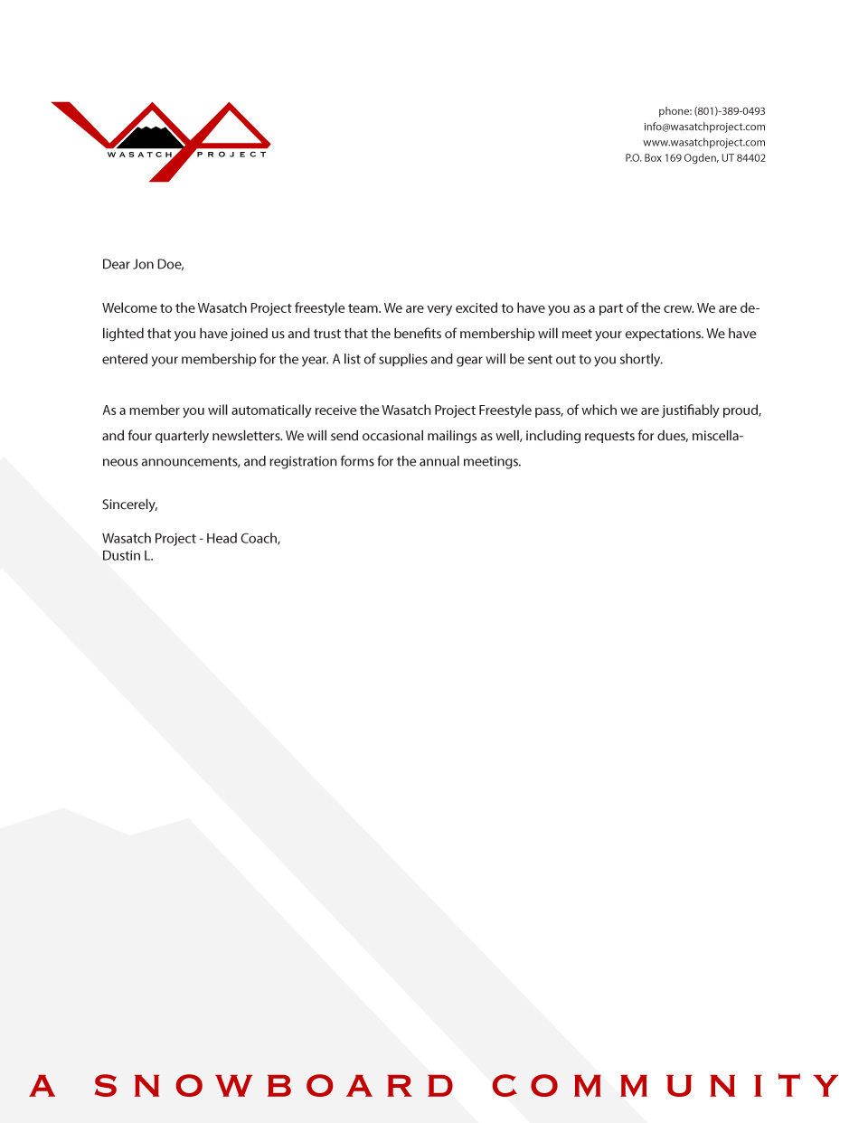 Wasatch Project Letterhead